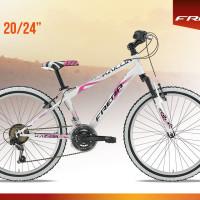 """Mtb in acciaio leggero, molto scorrevole, forcella ammortizzata, 18 velocità, disponibile in due colorazioni. Con ruote da 24"""" e da 20"""""""