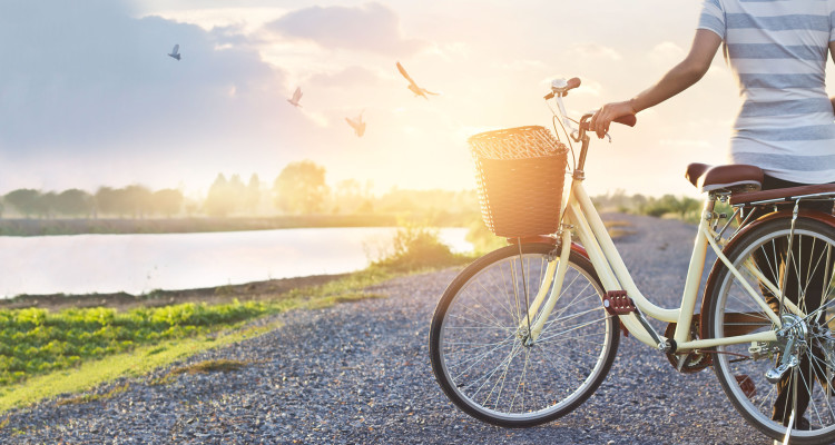 woman standing with vintage bicycle, relaxing in summer sunset nature rural with flying birds